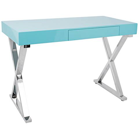 Luster glossy light blue wood and chrome office desk 17x47 luster glossy light blue wood and chrome office desk gumiabroncs Images