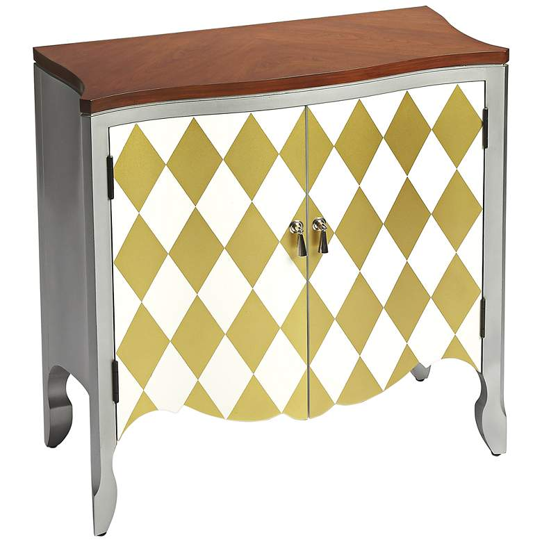 """Iola 30"""" Wide Gold and White Harlequin Cherry Top Table"""