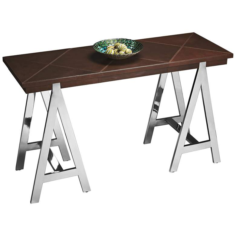 "Ande 48"" Wide Leather and Stainless Steel Console"