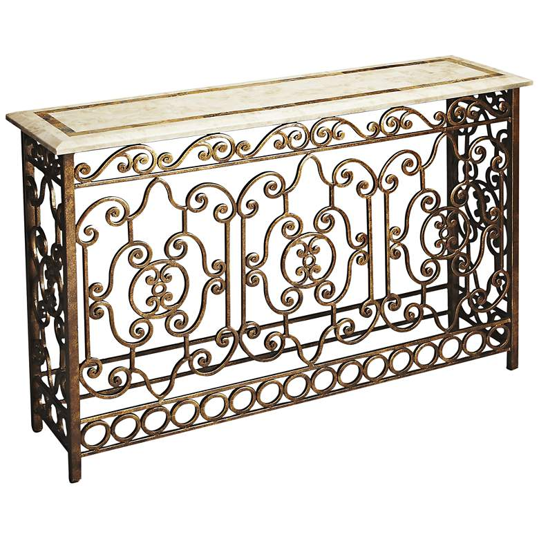 "Contessa 52 1/4"" Wide Metalworks Wrought Iron Console"