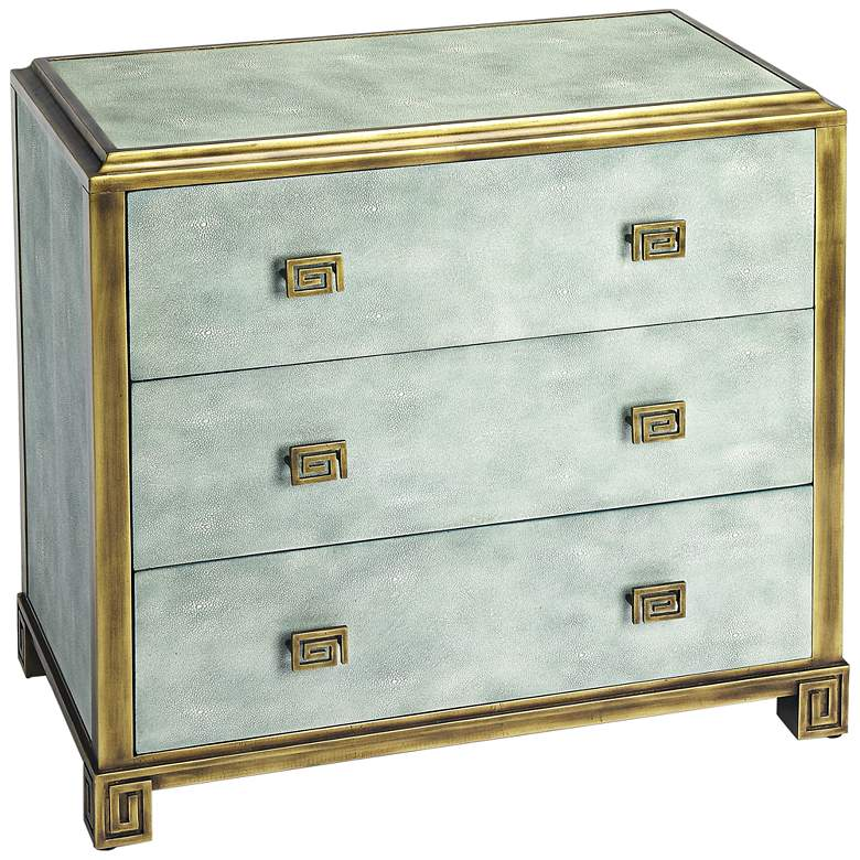 """Artemis 34 1/2"""" Distressed Blue Wood 3-Drawer Console Chest"""