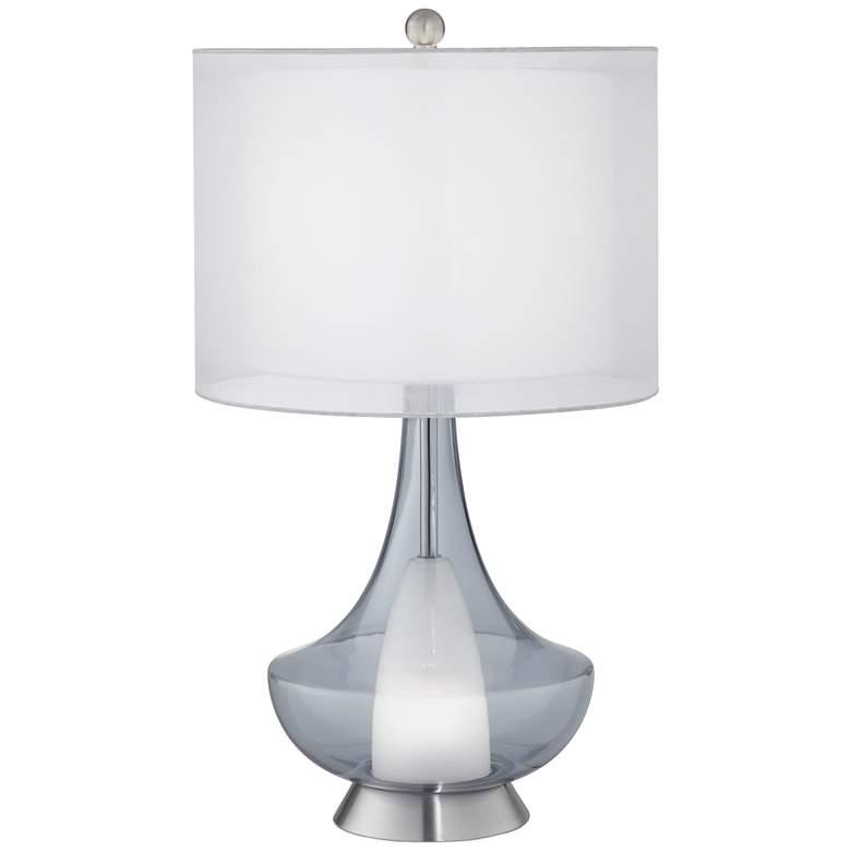 Possini Euro Judith Blue Glass Table Lamp with Nightlight