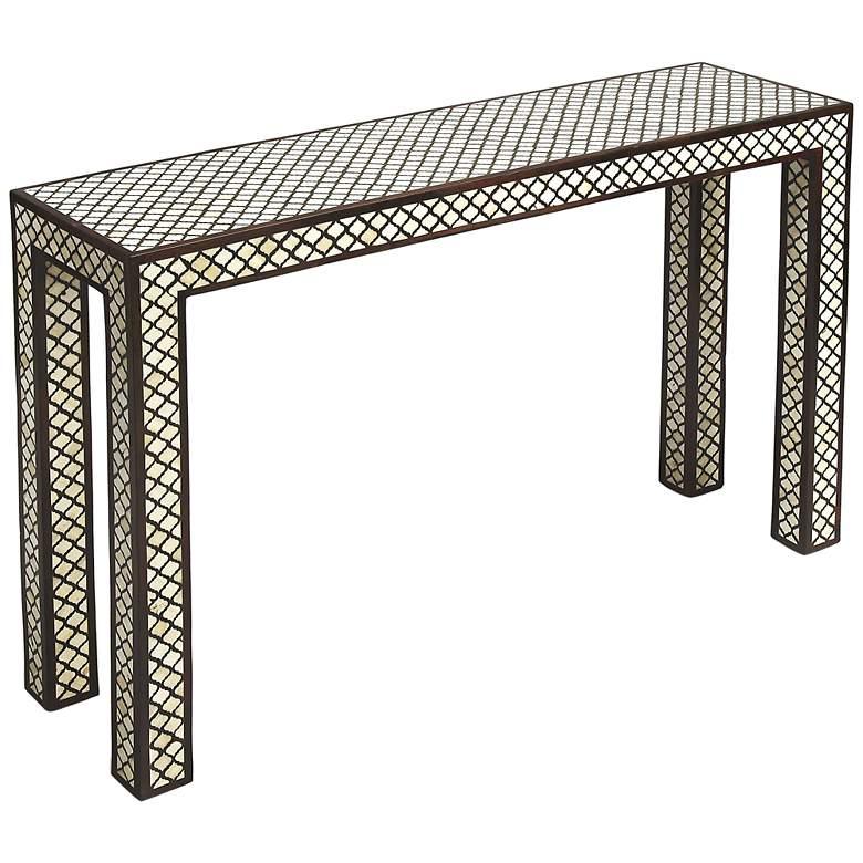 "Basan 43 1/2"" Wide Wood and Bone Inlay Console Sofa Table"