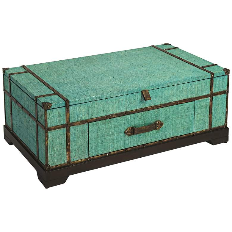 """Anabel 46"""" Wide Green Raffia Wood Trunk Cocktail Table"""