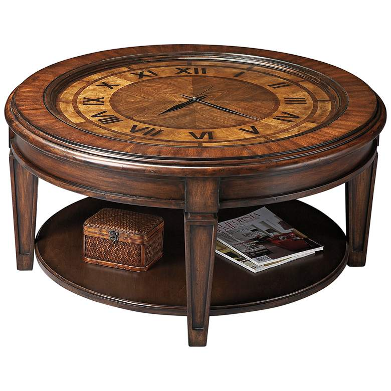 "Tome 40"" Wide Wood and Glass Clock Face Cocktail Table"