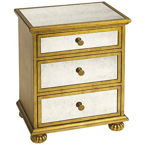 Butler Grable Mirrored and Gold Wood 3-Drawer Accent Table