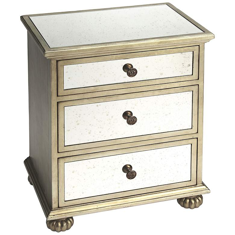 """Grable 24"""" Mirrored and Silver Wood 3-Drawer Accent Table"""