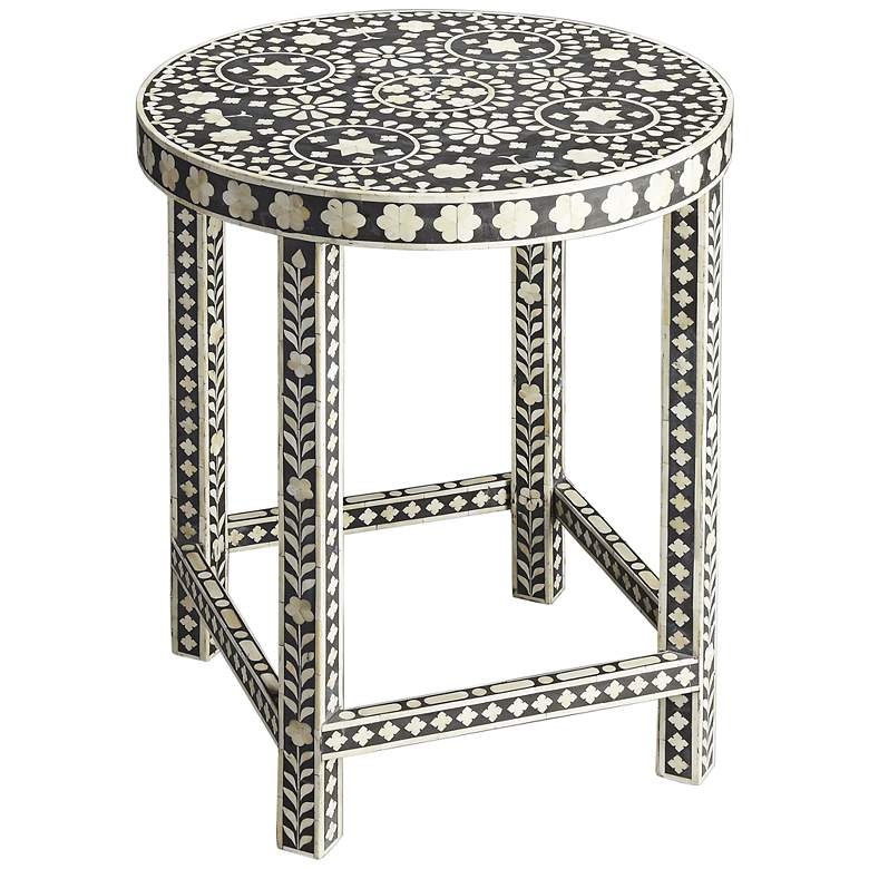 "Rosa 24"" Wide Bone Inlay Round Accent Table"