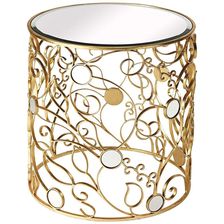 """Bellissimo Vine 24"""" Wide Antique Gold and Mirror Side Table"""