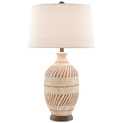 Faiyum Tan and Brown Earthen Basket Weave Table Lamp