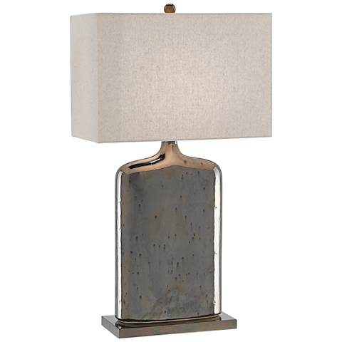 Currey and company musing metallic bronze ceramic table in jar form this transitional ceramic table lamp