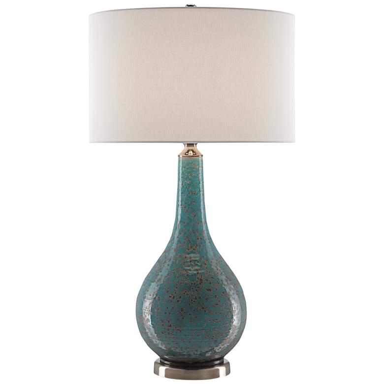 Antiqua Turquoise Glaze Porcelain Table Lamp