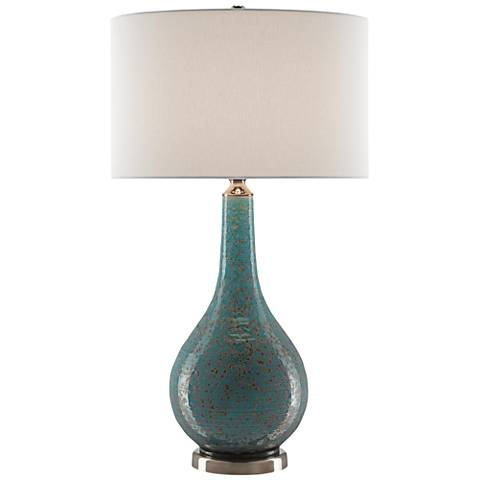 Antiqua Turquoise Glaze Porcelain Table Lamp