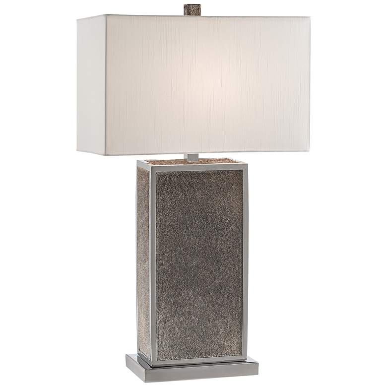 Braunvieh Gray Genuine Leather Rectangular Column Table Lamp