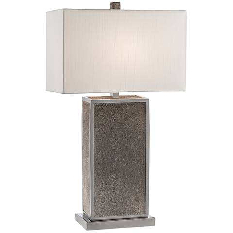 Braunvieh Gray Genuine Leather Rectangular Column Table Lamp