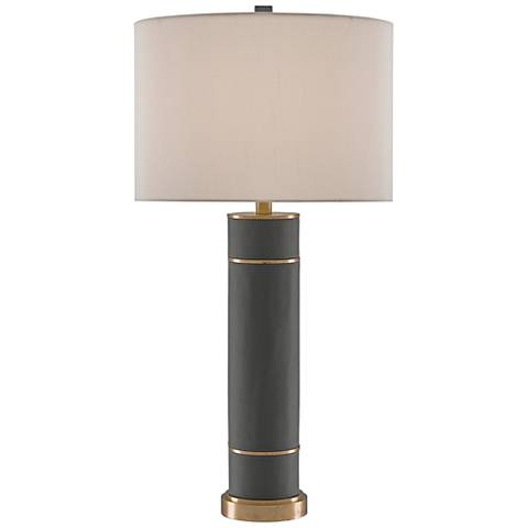 Currey and Company Archive Gray Ample Cylindrical Table Lamp