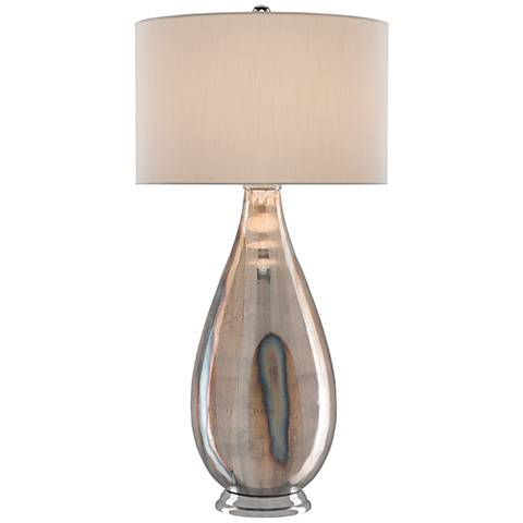Currey and Company Gourde Silver Mercury Glass Table Lamp