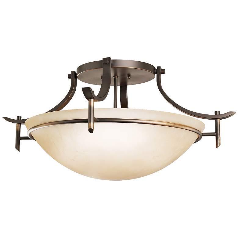 "Olympia 24"" Wide Olde Bronze Ceiling Light Fixture"