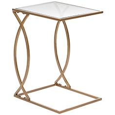 """Sofia 19"""" Wide Clear Glass Top and Gold Accent Table"""