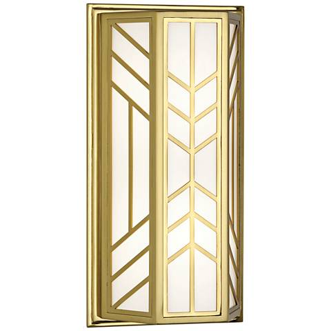 """Robert Abbey Octavius 14 1/2"""" High Modern Brass Wall Sconce"""