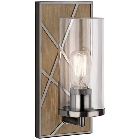 "Michael Berman Bond 12""H Wood and White Glass Wall Sconce"