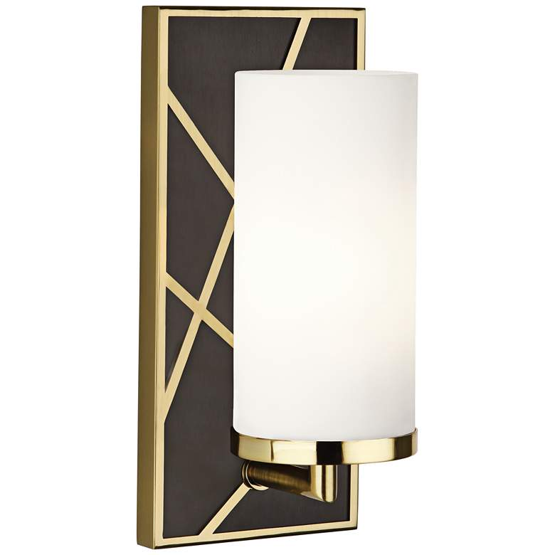 "Michael Berman Bond 12""H Bronze and White Glass Wall Sconce"