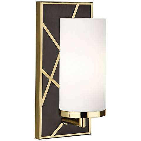 "Michael Berman Bond 12""H Bronze and White Glass Wall Sconce"