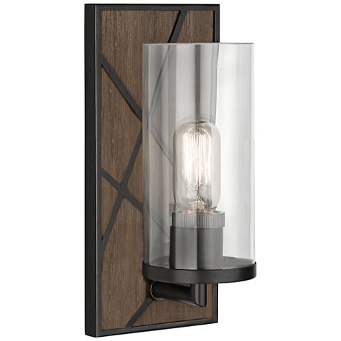 "Michael Berman Bond 12""H Walnut and Clear Glass Wall Sconce"