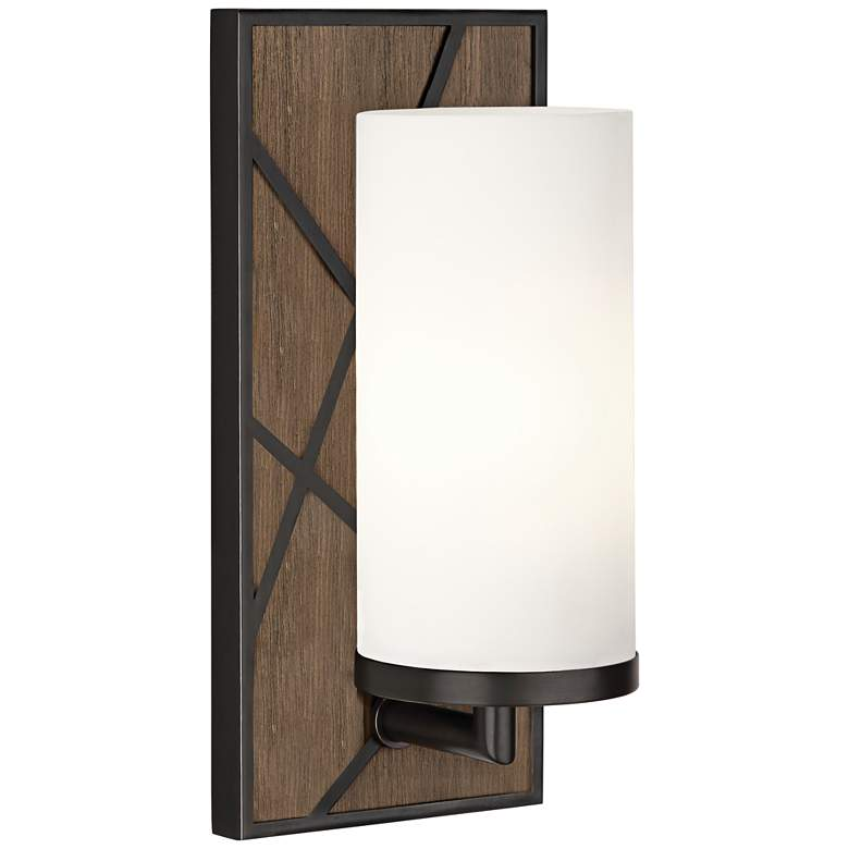 "Michael Berman Bond 12""H Walnut and White Glass Wall Sconce"