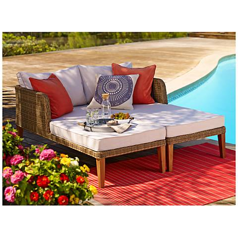 Lazlo Brown All-Weather Wicker Outdoor Lounge Chair Set of 2