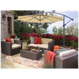 Strade Island Brown Wicker 5-Piece Outdoor Seating Patio Set