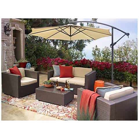 Strade Island Brown Wicker 5-Piece Outdoor Seating Patio Set