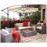 Strade Island Gray Wicker 5-Piece Outdoor Seating Patio Set