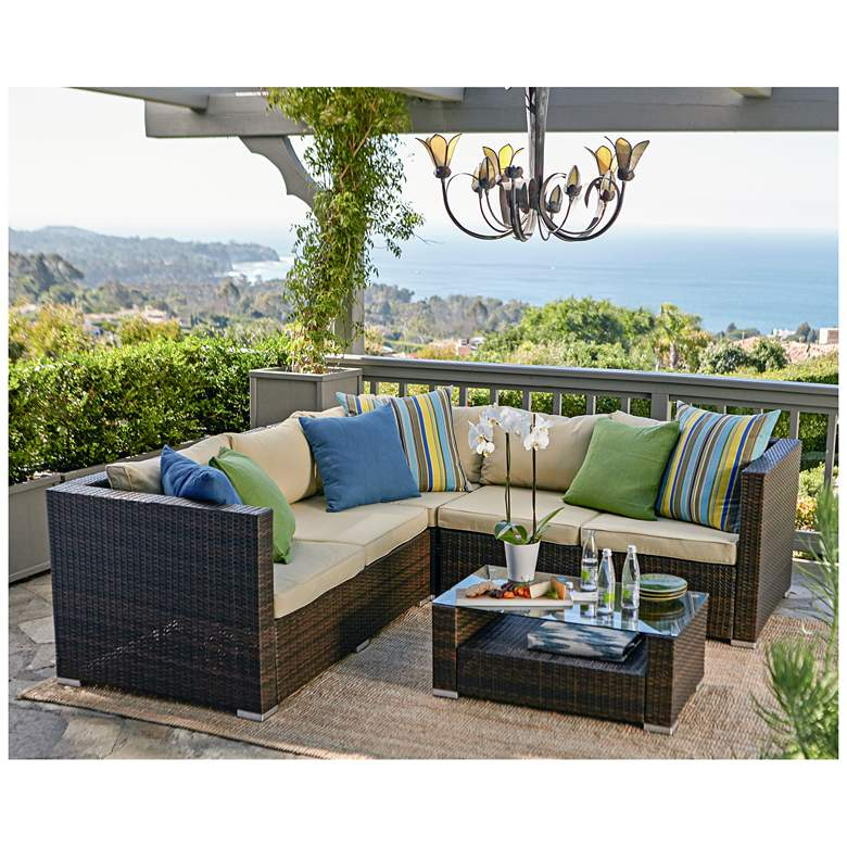 Reston Brown Wicker 4-Piece Outdoor Sectional Sofa Patio