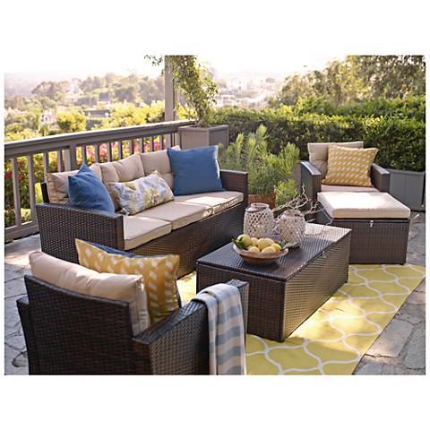 Cascaden Dark Brown Wicker 5-Piece Outdoor Patio Set with Storage