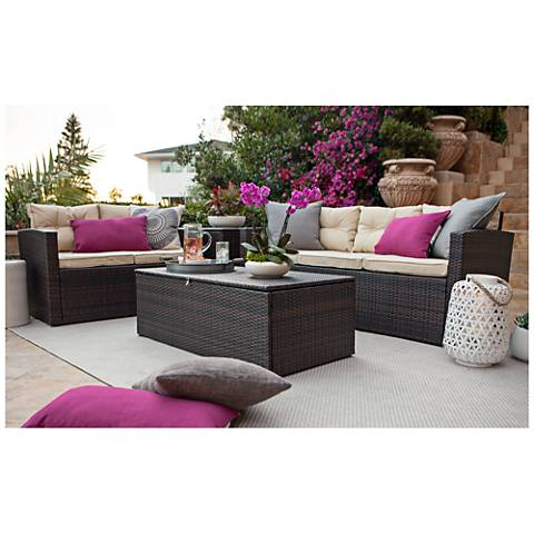 Cascaden Brown Wicker 4-Piece Outdoor Patio Set with Storage