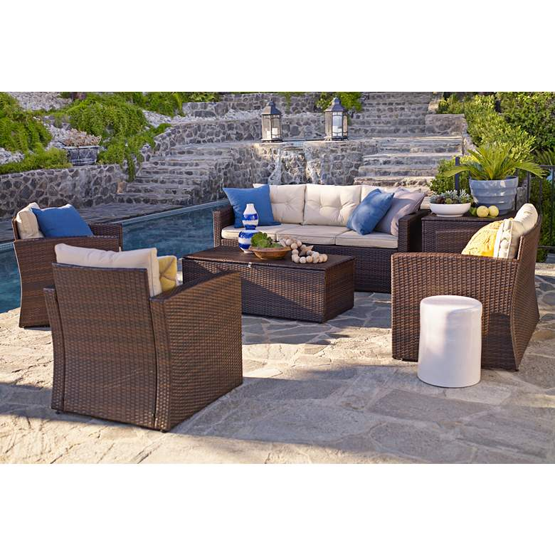Cascaden Brown Wicker 6-Piece Outdoor Patio Set with Storage