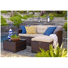 Cascaden Dark Brown Wicker 3 Piece Outdoor Sofa Patio Set