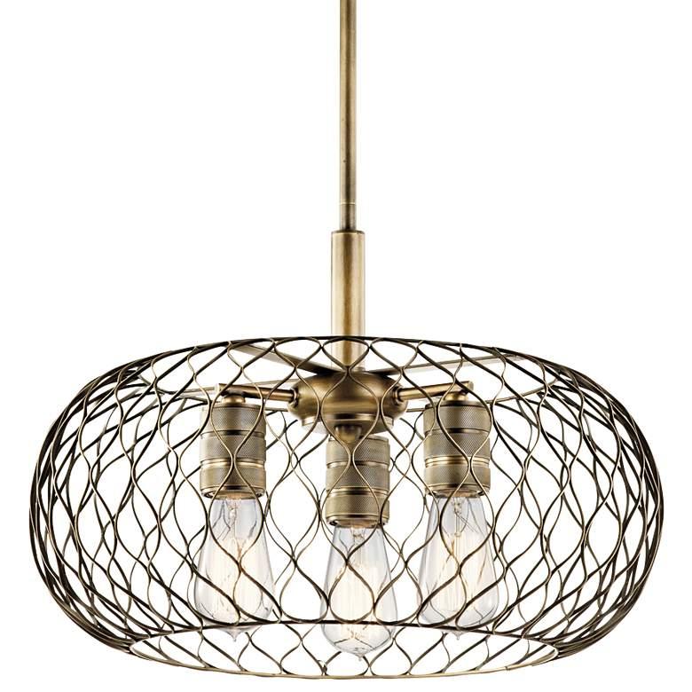 "Kichler Devin 18"" Wide Natural Brass Mesh 3-Light Pendant"