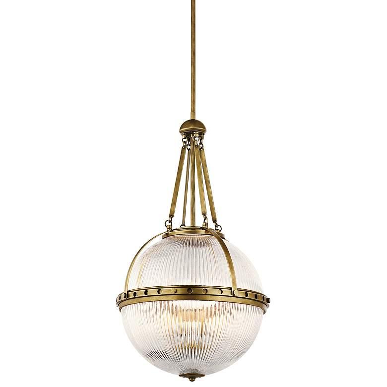 "Kichler Aster 15 1/4""W Natural Brass Orb 3-Light Pendant"
