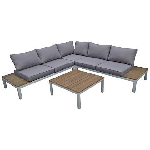 Celio Natural Wood 4-Piece Outdoor Seating Patio Set