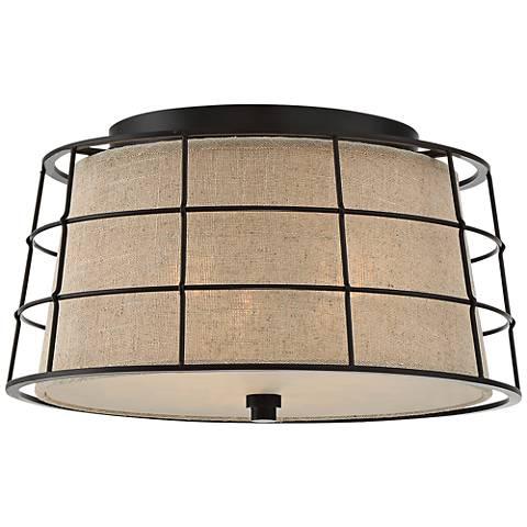 """Quoizel Landings 16"""" Wide Mottled Cocoa Ceiling Light"""