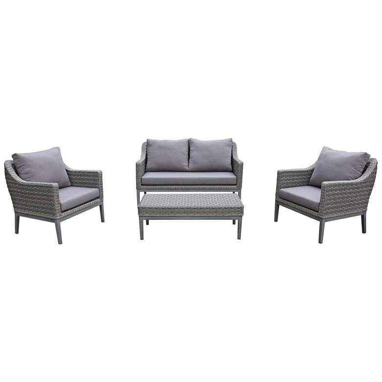 Monti Gray Wicker 4-Piece Outdoor Seating Patio Set