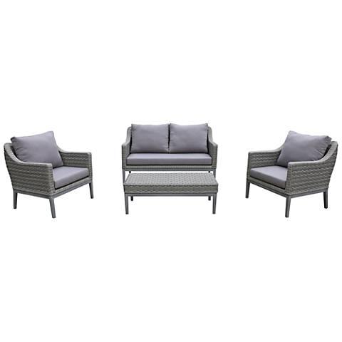 Monti Gray Wicker 4-Piece Outdoor Seating Patio Set