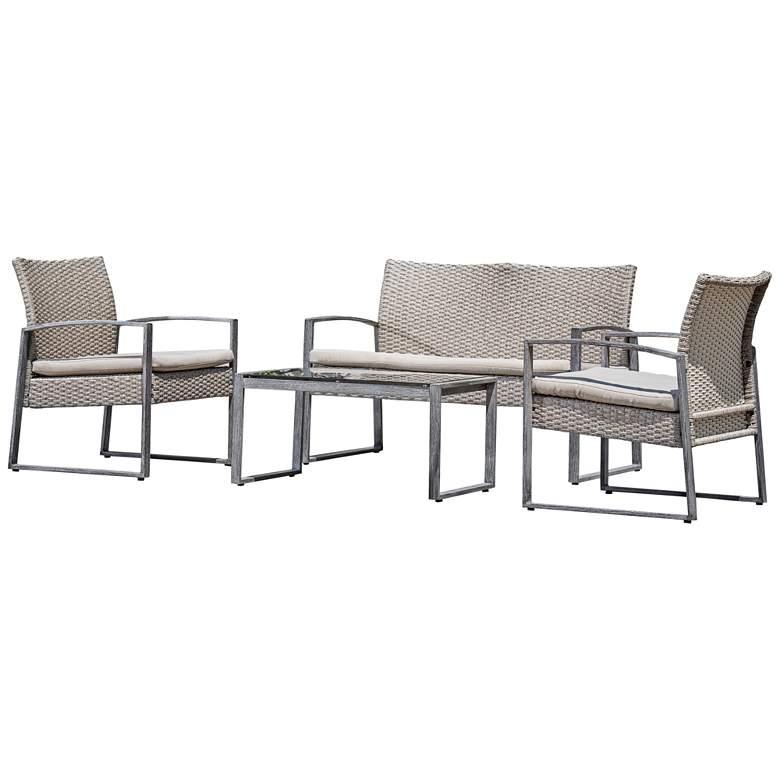 Rome Gray Wicker 4-Piece Outdoor Seating Patio Set