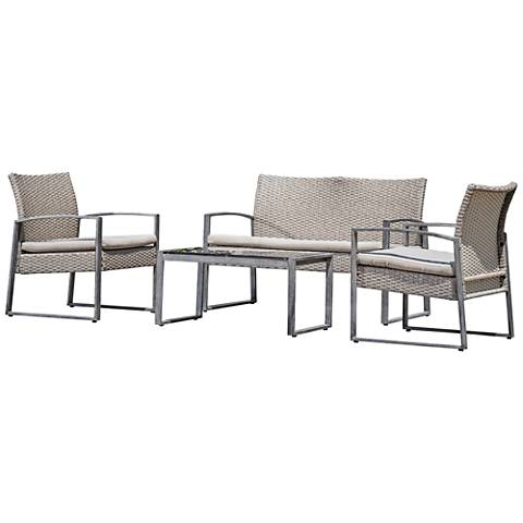 Rome Gray Wicker 4-Piece Outdoor Seating Patio Set