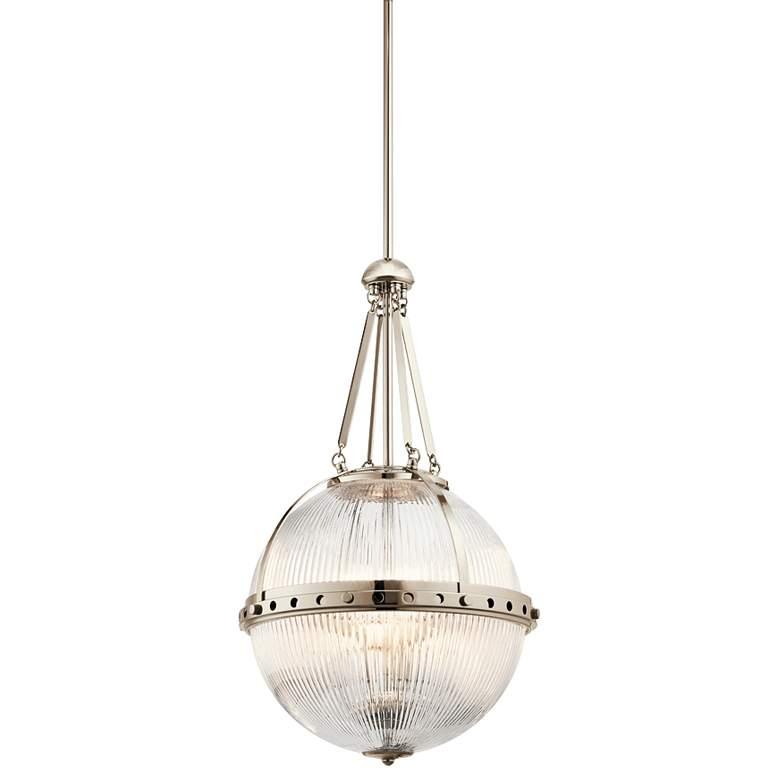 "Kichler Aster 15 1/4""W Polished Nickel Orb 3-Light Pendant"