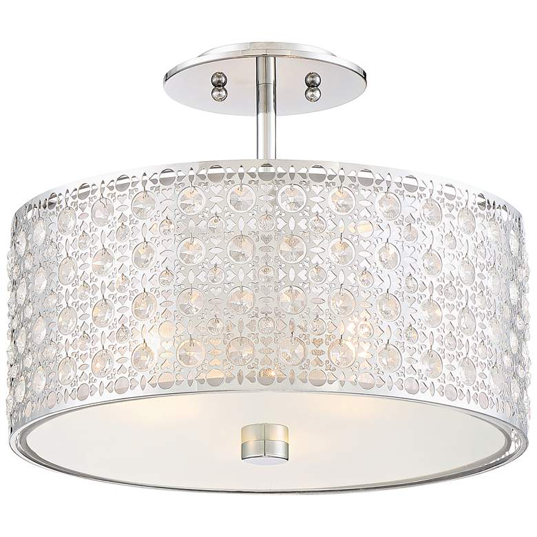 "Platinum Verity 15"" Wide Modern Chrome Ceiling Light"