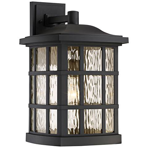 "Quoizel Stonington 17"" High Matte Black Outdoor Wall Light"