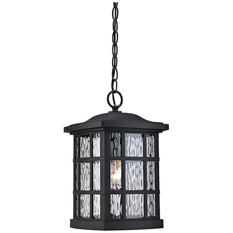 "Quoizel Stonington 15""H Matte Black Outdoor Hanging Light"